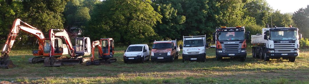 Grues, camions, véhicules de travaux